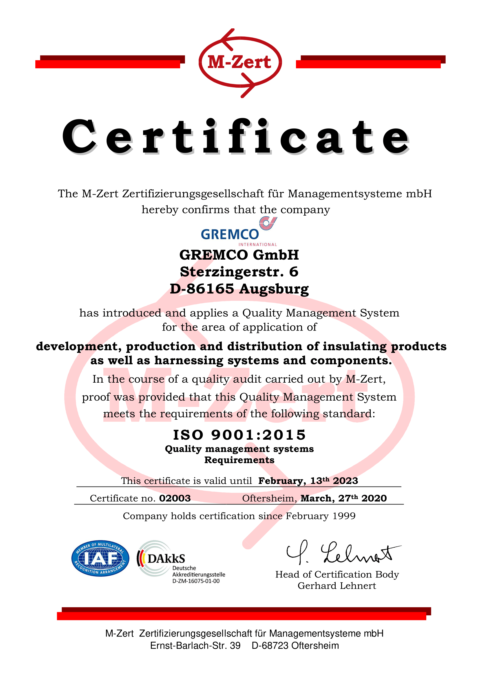 GREMCO GmbH Certificate for quality management of cabling systems and insulation products according to DIN EN ISO 9001:2015