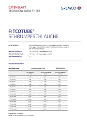 GREMCO Fitcotube® Schrumpfschäuche Datenblatt